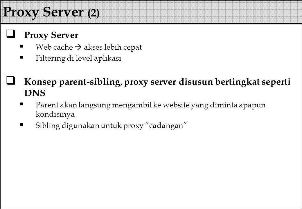 Proxy Server (2) Proxy Server