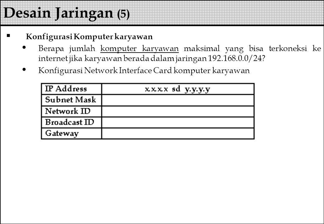 Desain Jaringan (5) Konfigurasi Komputer karyawan
