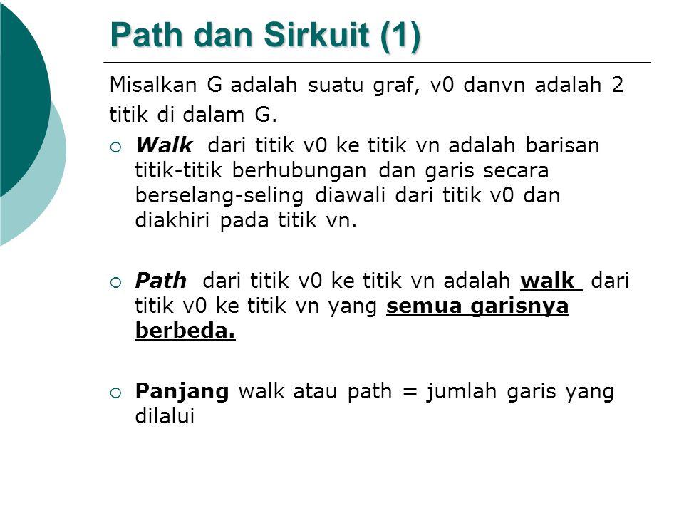 Path dan Sirkuit (1) Misalkan G adalah suatu graf, v0 danvn adalah 2