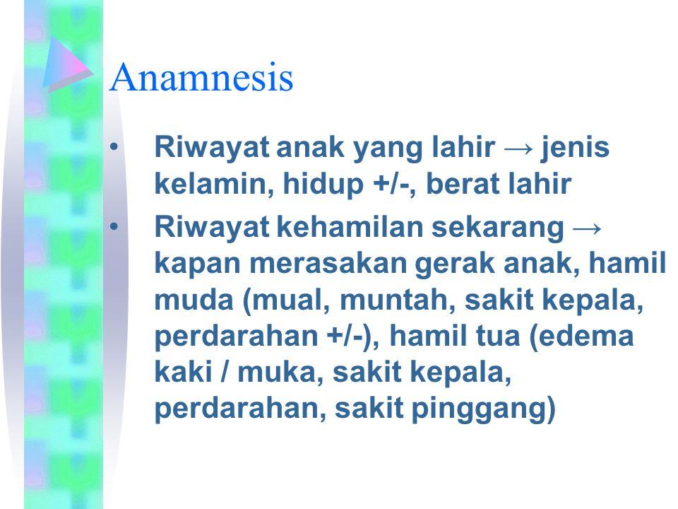 Anamnesis Riwayat anak yang lahir → jenis kelamin, hidup +/-, berat lahir.