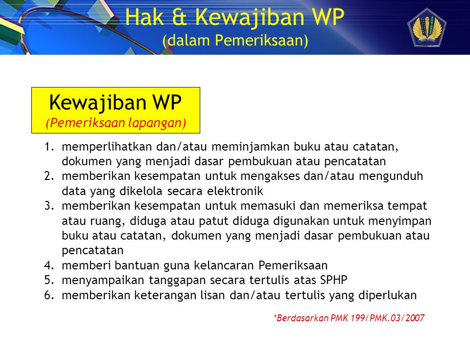 Hak & Kewajiban WP (dalam Pemeriksaan)
