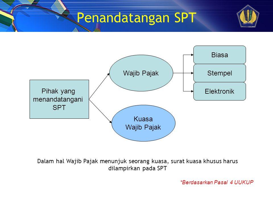Penandatangan SPT Biasa Wajib Pajak Stempel Pihak yang Elektronik