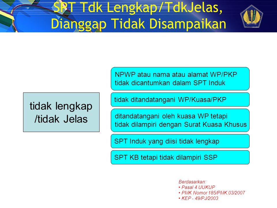 SPT Tdk Lengkap/TdkJelas, Dianggap Tidak Disampaikan