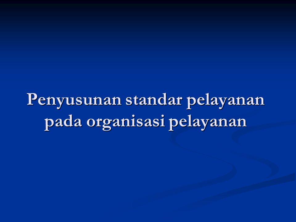 Penyusunan standar pelayanan pada organisasi pelayanan