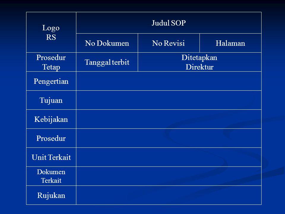 Logo RS Judul SOP No Dokumen No Revisi Halaman Prosedur Tetap