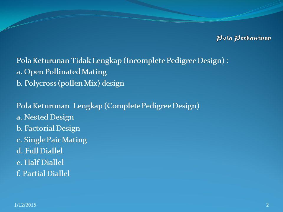 Pola Keturunan Tidak Lengkap (Incomplete Pedigree Design) :