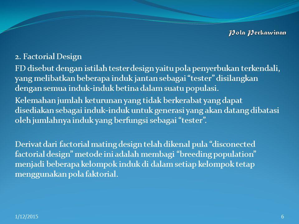 Pola Perkawinan 2. Factorial Design.