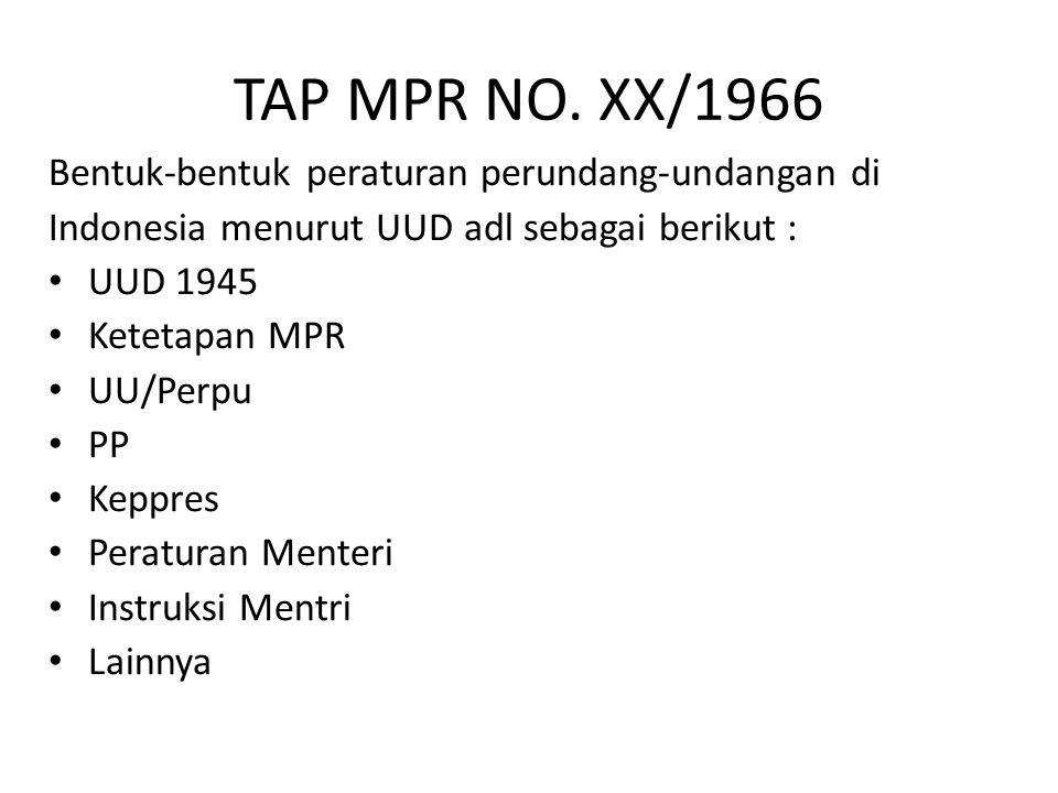 TAP MPR NO. XX/1966 Bentuk-bentuk peraturan perundang-undangan di