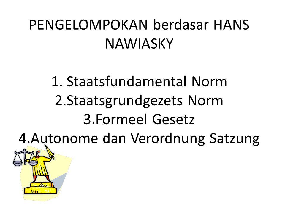 PENGELOMPOKAN berdasar HANS NAWIASKY 1. Staatsfundamental Norm 2