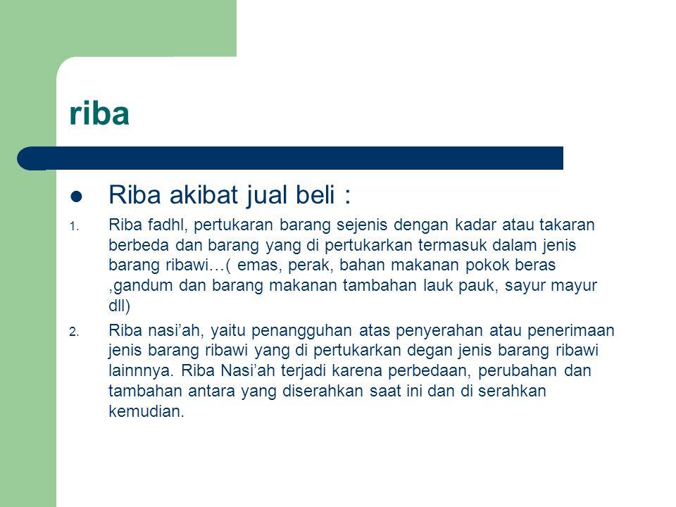 riba Riba akibat jual beli :