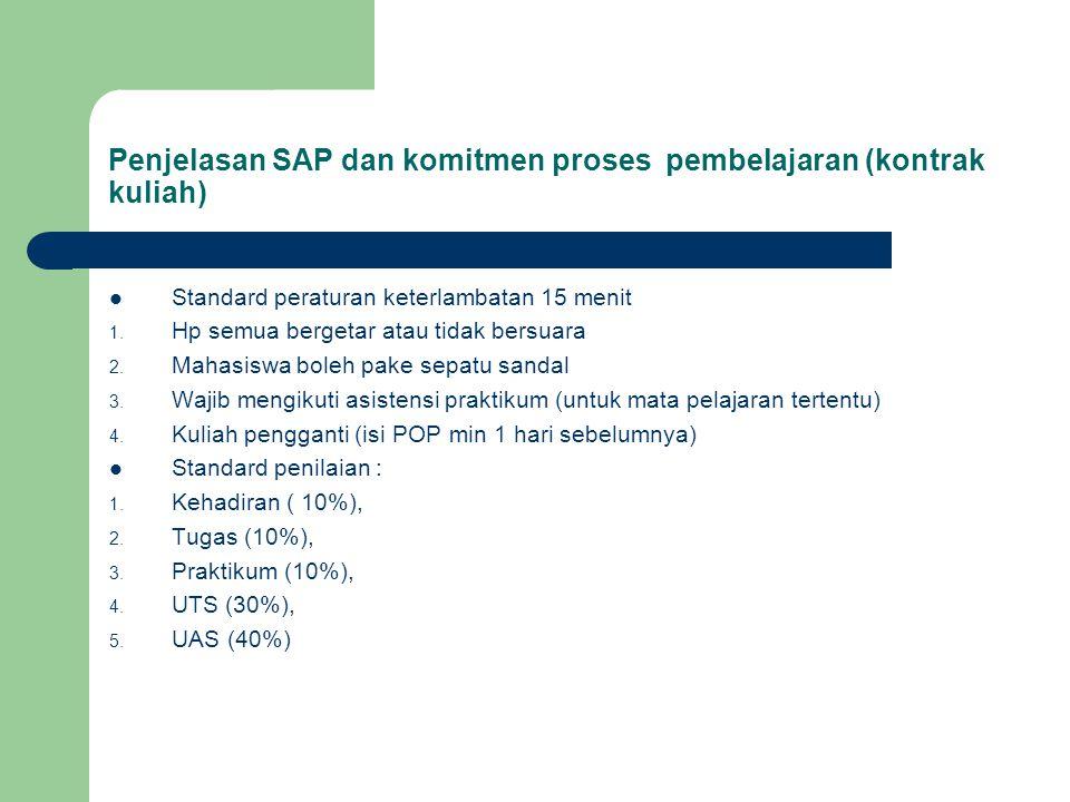 Penjelasan SAP dan komitmen proses pembelajaran (kontrak kuliah)