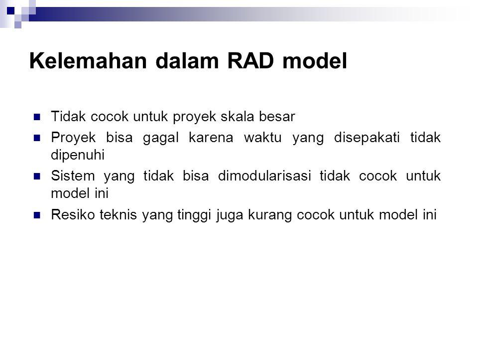 Kelemahan dalam RAD model
