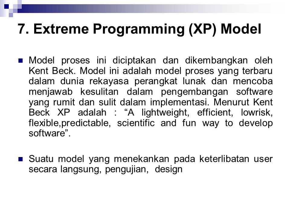 7. Extreme Programming (XP) Model