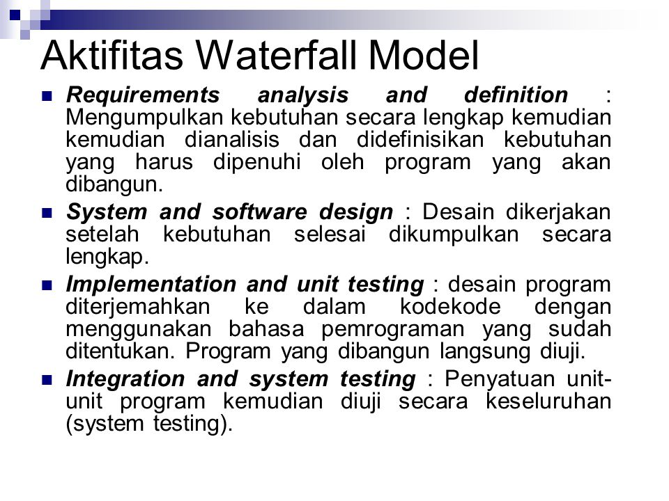 Aktifitas Waterfall Model