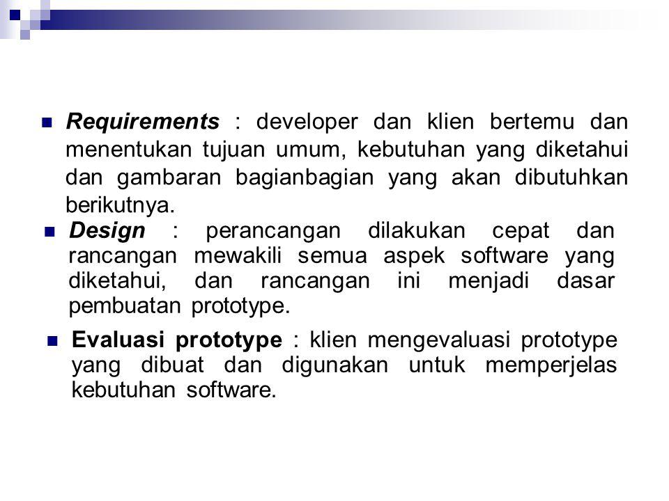 Requirements : developer dan klien bertemu dan menentukan tujuan umum, kebutuhan yang diketahui dan gambaran bagianbagian yang akan dibutuhkan berikutnya.