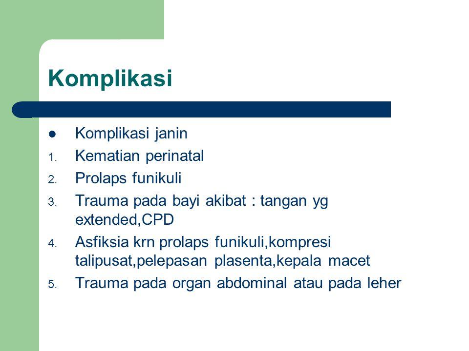 Komplikasi Komplikasi janin Kematian perinatal Prolaps funikuli