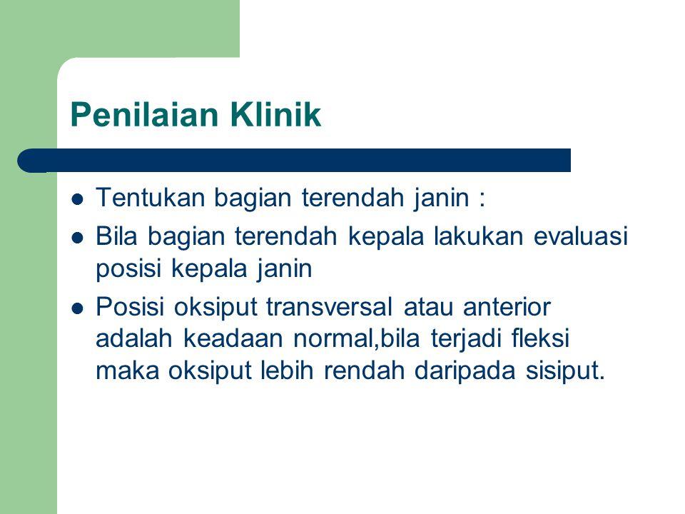 Penilaian Klinik Tentukan bagian terendah janin :