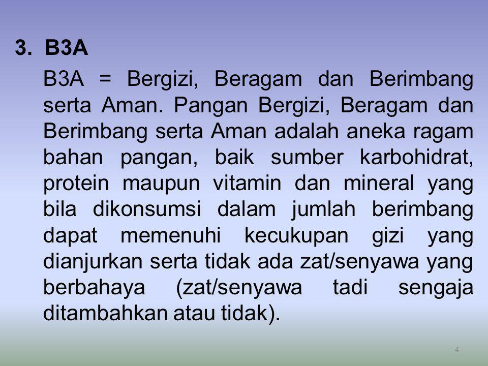 3. B3A B3A = Bergizi, Beragam dan Berimbang serta Aman