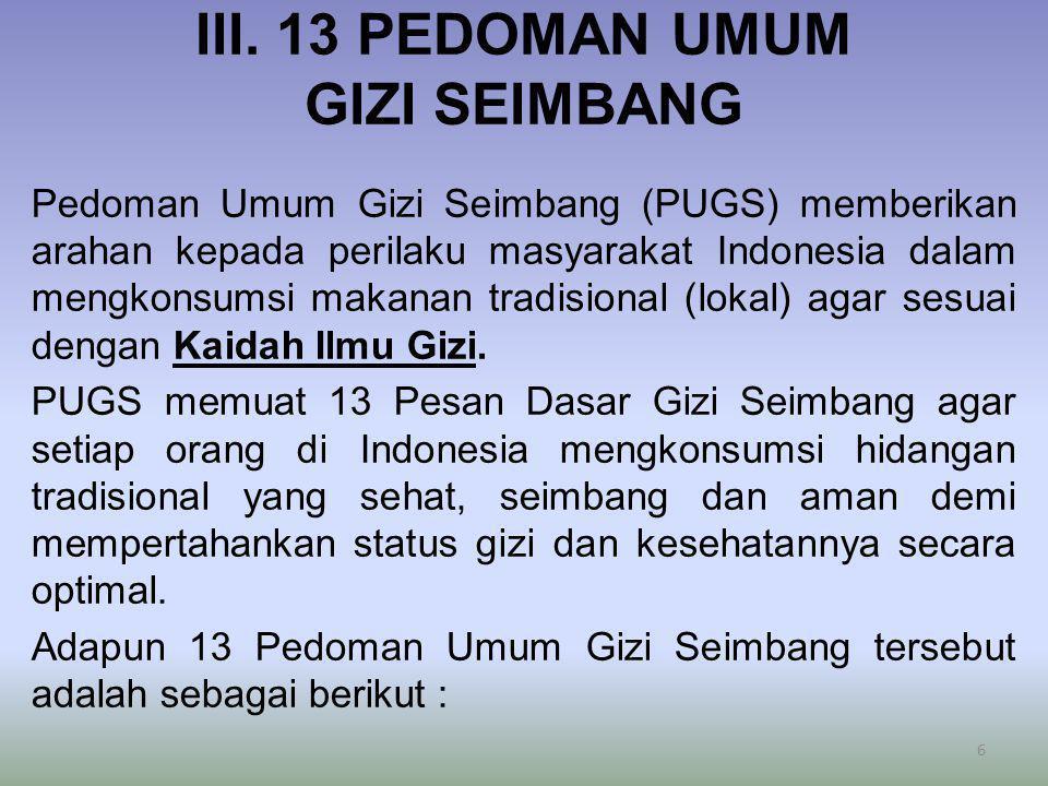 III. 13 PEDOMAN UMUM GIZI SEIMBANG