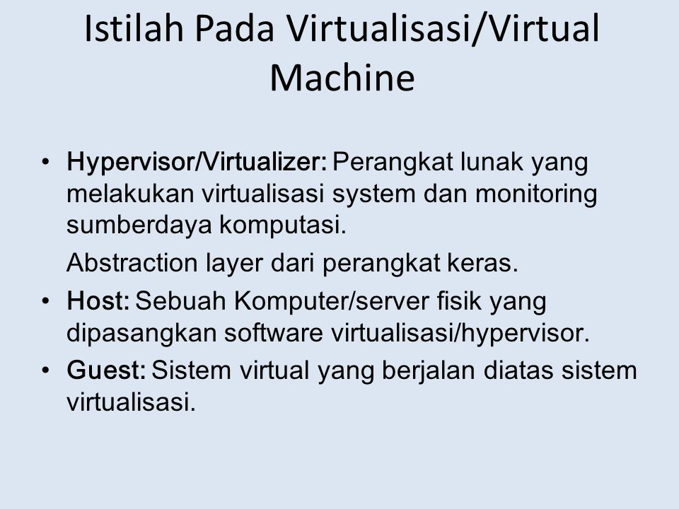 Istilah Pada Virtualisasi/Virtual Machine