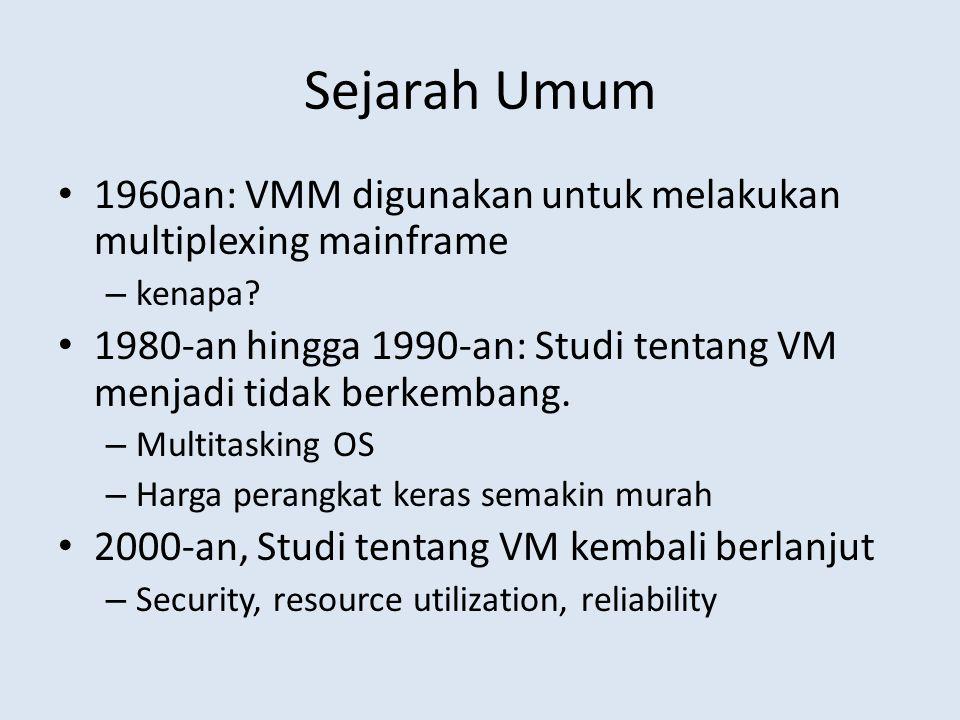 Sejarah Umum 1960an: VMM digunakan untuk melakukan multiplexing mainframe. kenapa