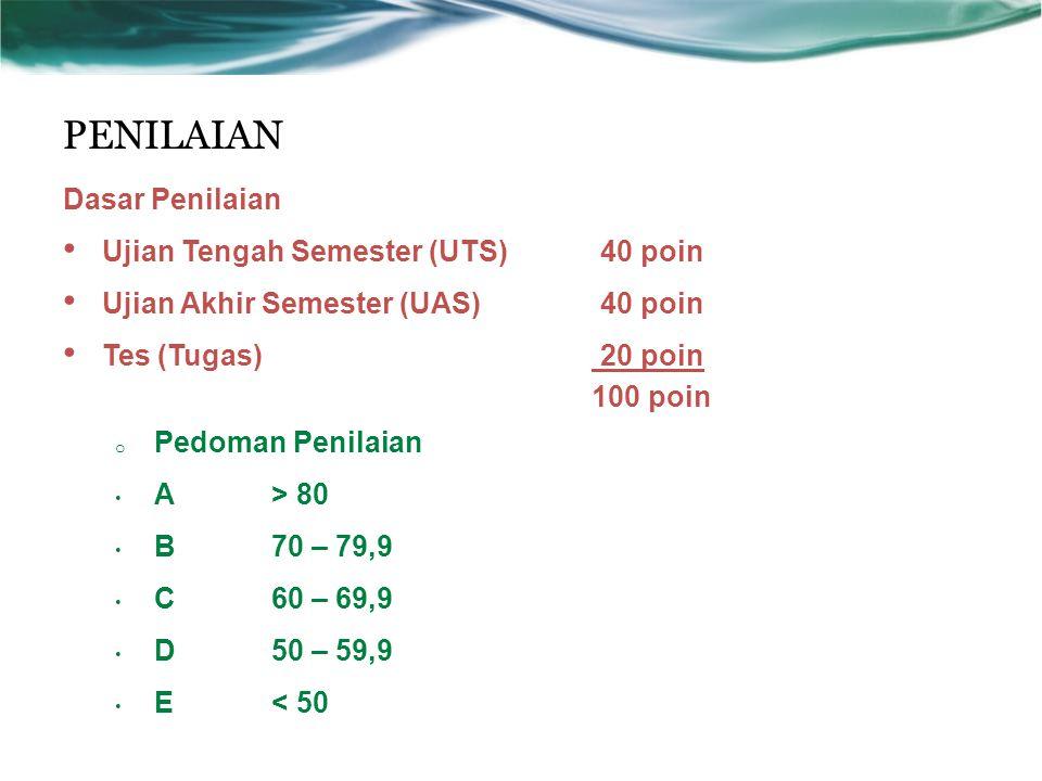 PENILAIAN Dasar Penilaian Ujian Tengah Semester (UTS) 40 poin