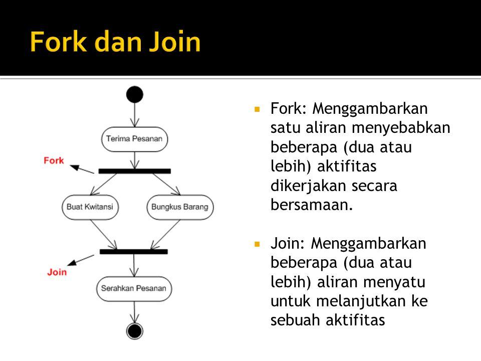 Fork dan Join Fork: Menggambarkan satu aliran menyebabkan beberapa (dua atau lebih) aktifitas dikerjakan secara bersamaan.