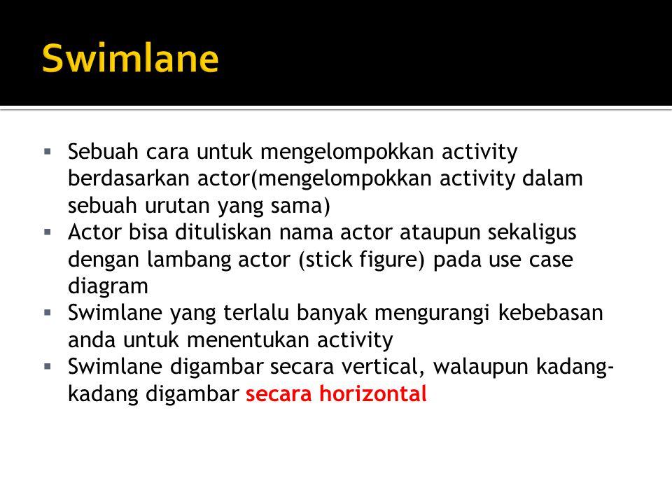 Swimlane Sebuah cara untuk mengelompokkan activity berdasarkan actor(mengelompokkan activity dalam sebuah urutan yang sama)