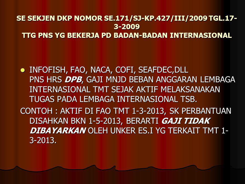 SE SEKJEN DKP NOMOR SE. 171/SJ-KP. 427/III/2009 TGL