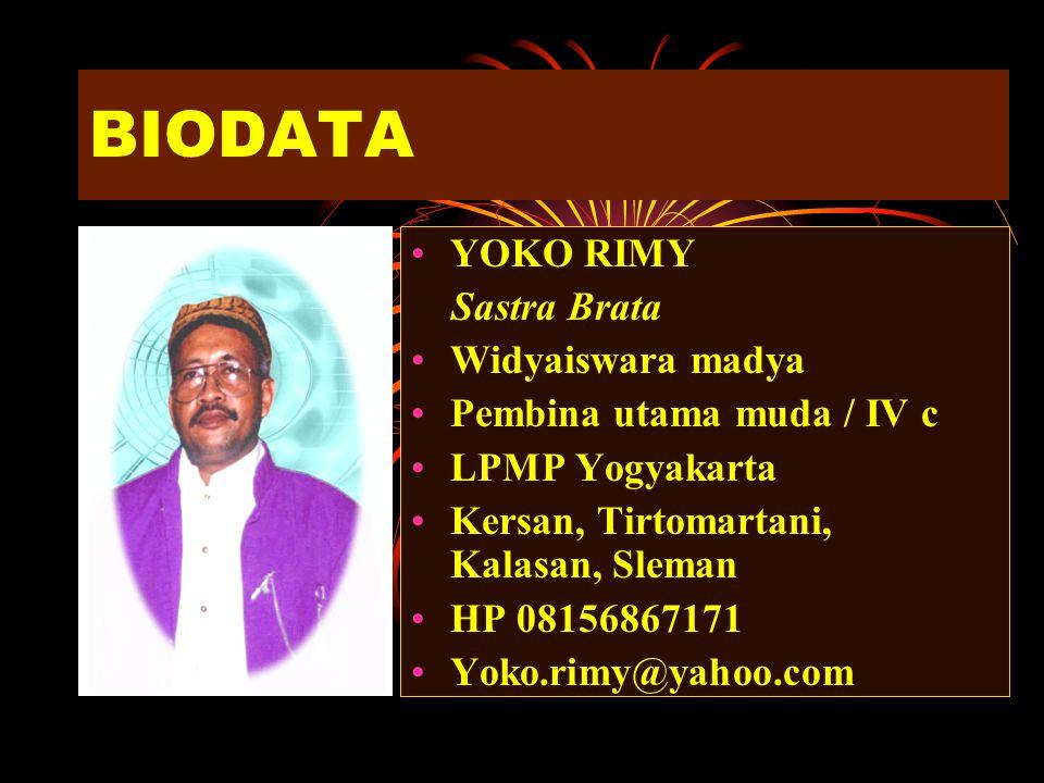 BIODATA YOKO RIMY Sastra Brata Widyaiswara madya