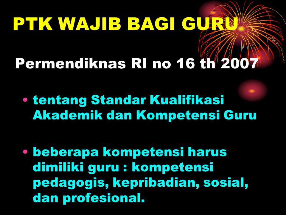 PTK WAJIB BAGI GURU Permendiknas RI no 16 th 2007