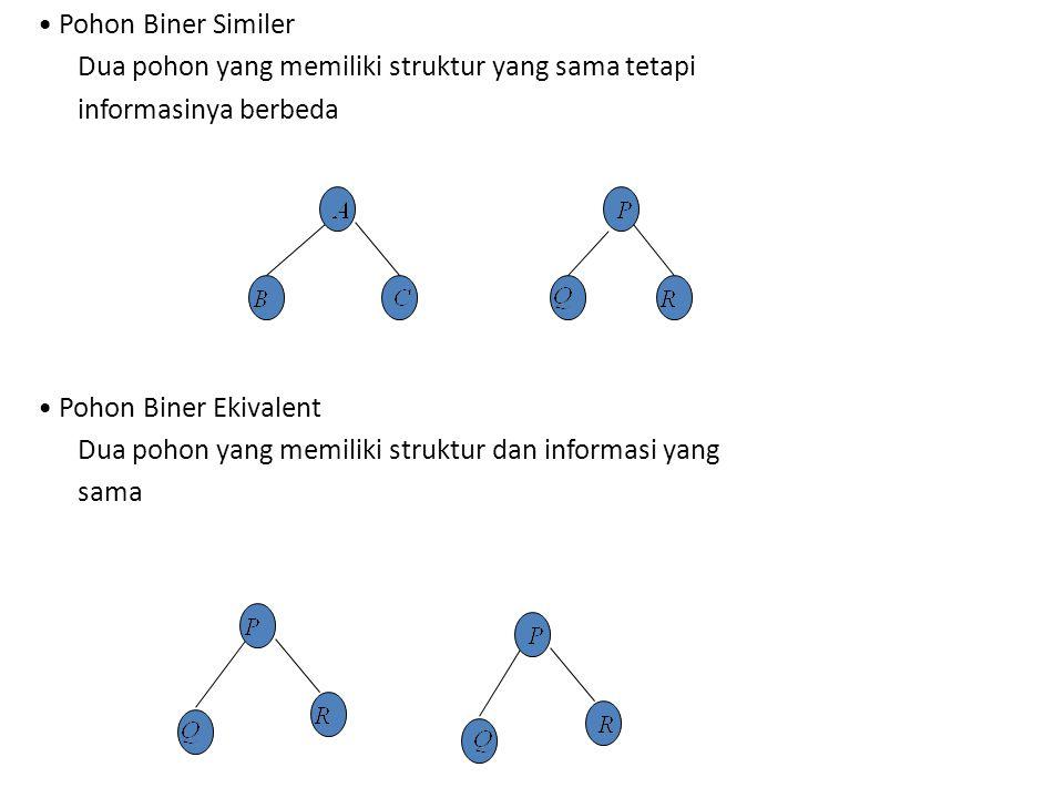• Pohon Biner Similer Dua pohon yang memiliki struktur yang sama tetapi. informasinya berbeda. • Pohon Biner Ekivalent.