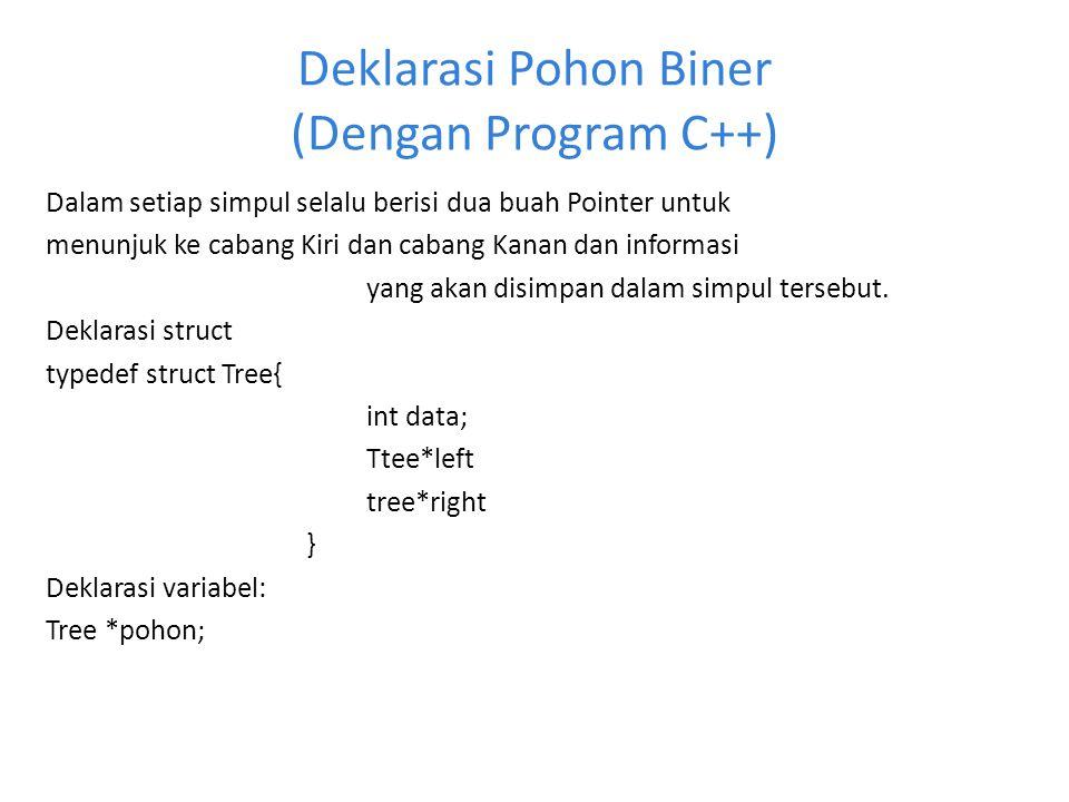 Deklarasi Pohon Biner (Dengan Program C++)
