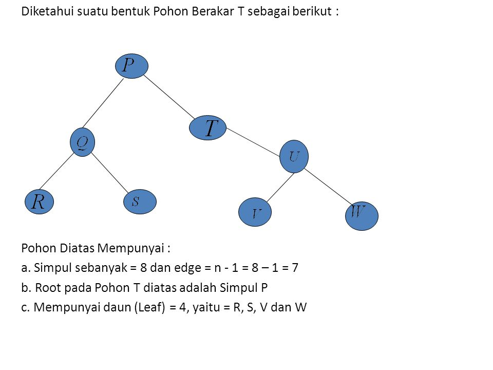 Diketahui suatu bentuk Pohon Berakar T sebagai berikut :
