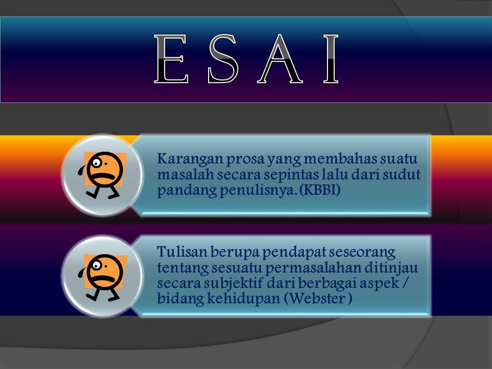 E s A i Karangan prosa yang membahas suatu masalah secara sepintas lalu dari sudut pandang penulisnya.(KBBI)