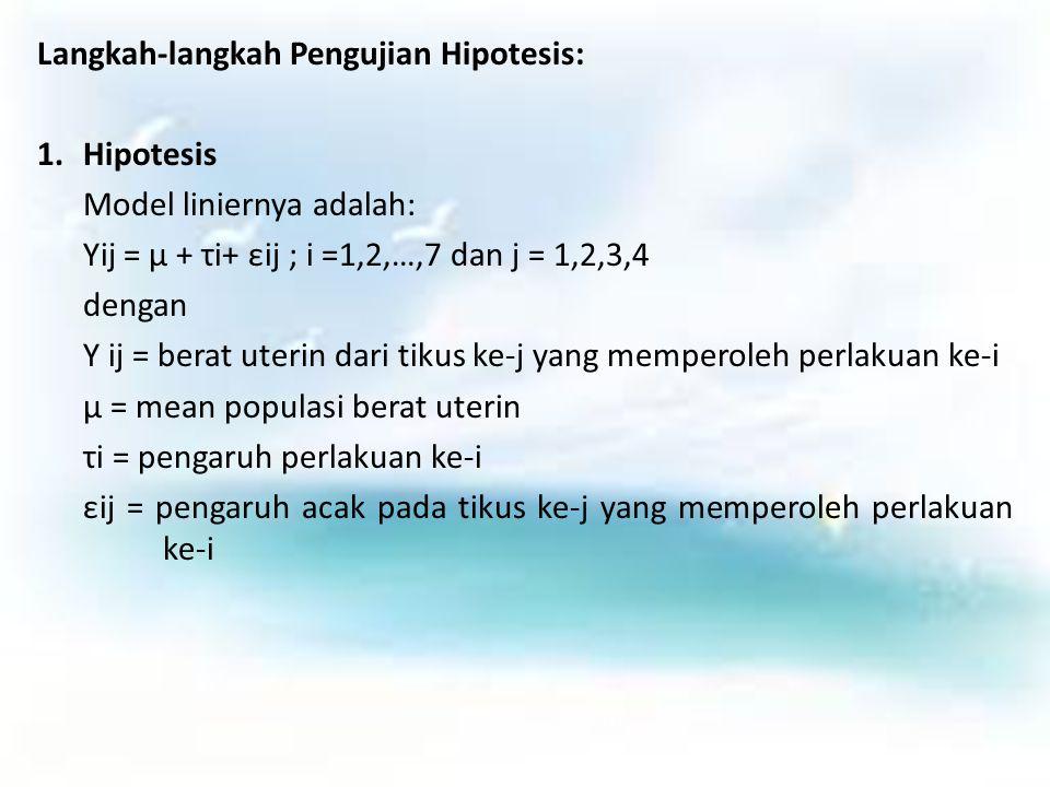 Langkah-langkah Pengujian Hipotesis: