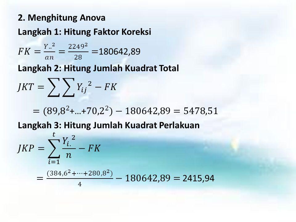 2. Menghitung Anova Langkah 1: Hitung Faktor Koreksi 𝐹𝐾= 𝑌