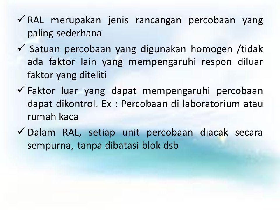 RAL merupakan jenis rancangan percobaan yang paling sederhana