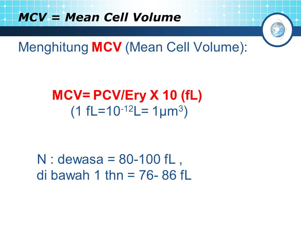 MCV = Mean Cell Volume