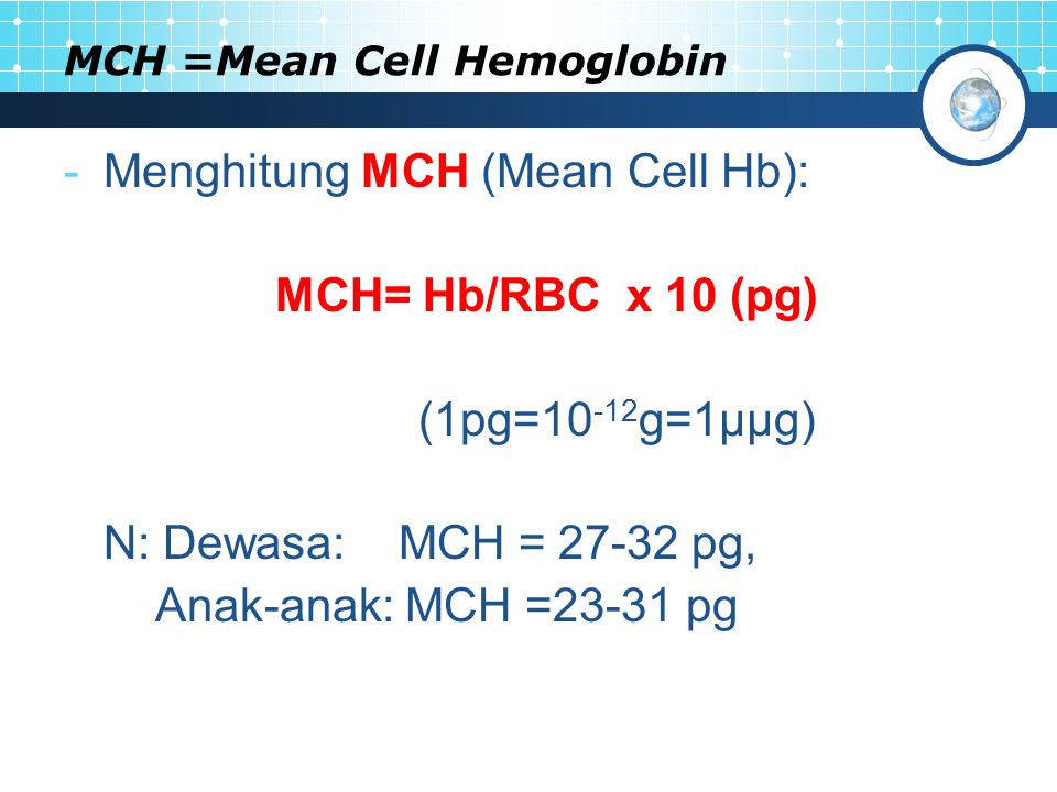 MCH =Mean Cell Hemoglobin