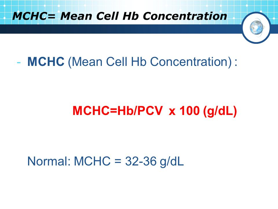 MCHC= Mean Cell Hb Concentration