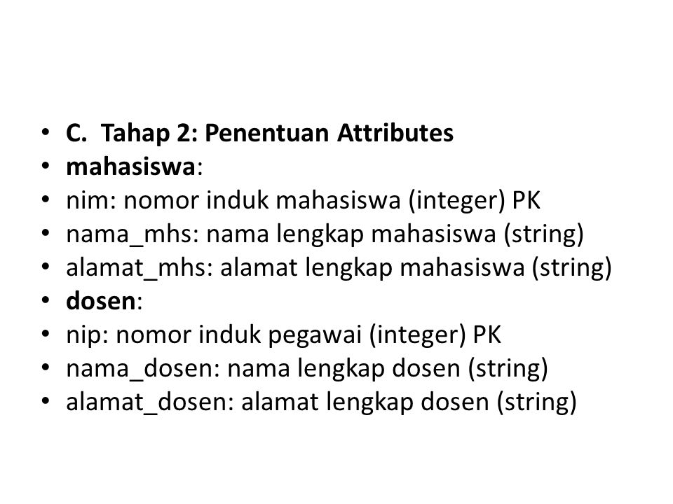 C. Tahap 2: Penentuan Attributes