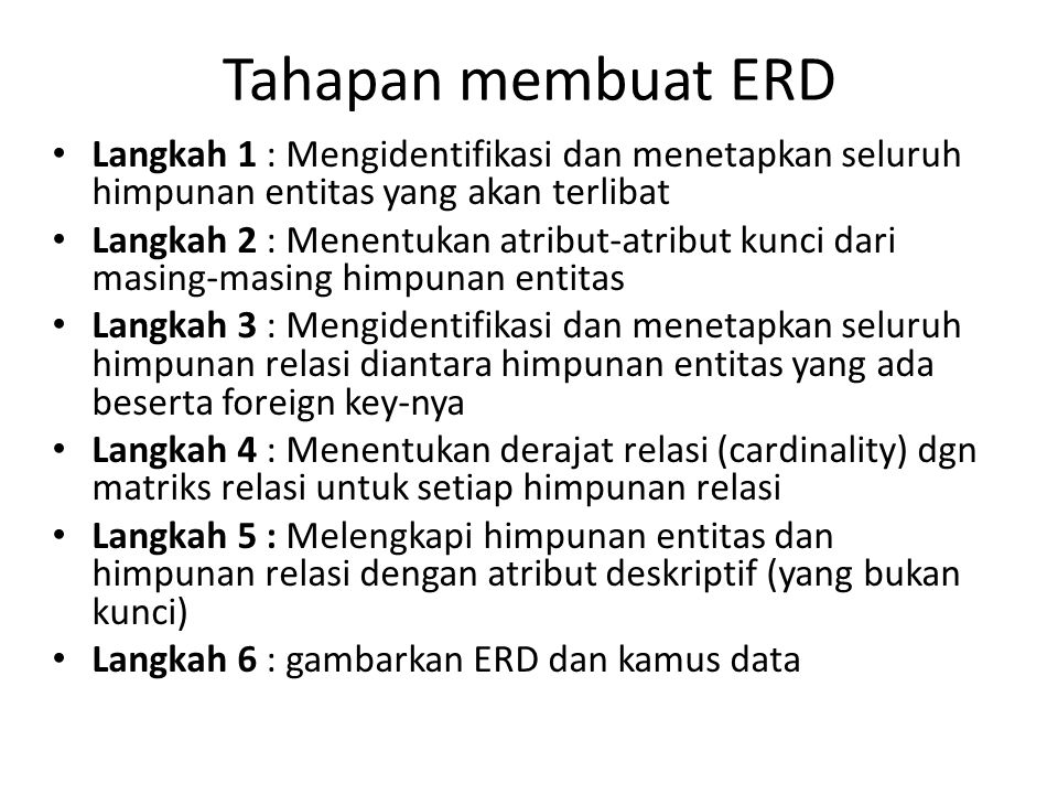 Tahapan membuat ERD Langkah 1 : Mengidentifikasi dan menetapkan seluruh himpunan entitas yang akan terlibat.