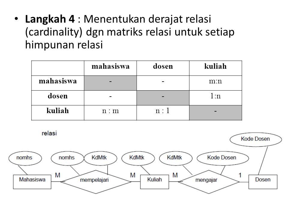 Langkah 4 : Menentukan derajat relasi (cardinality) dgn matriks relasi untuk setiap himpunan relasi
