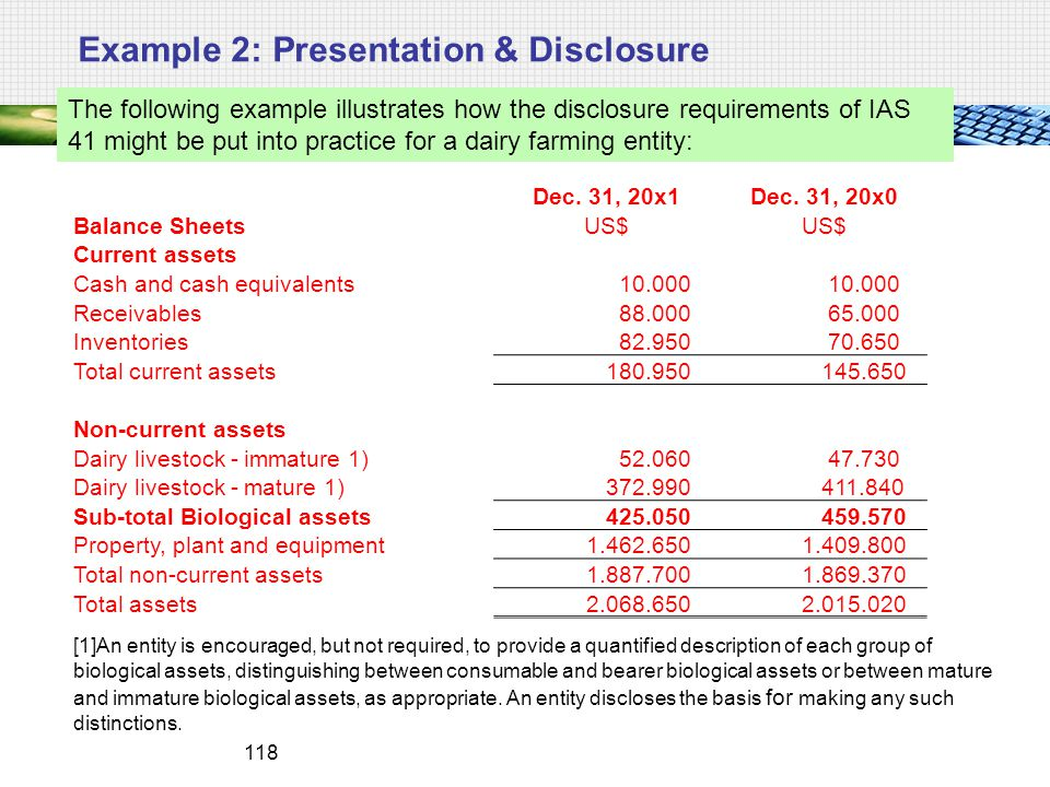 Example 2: Presentation & Disclosure