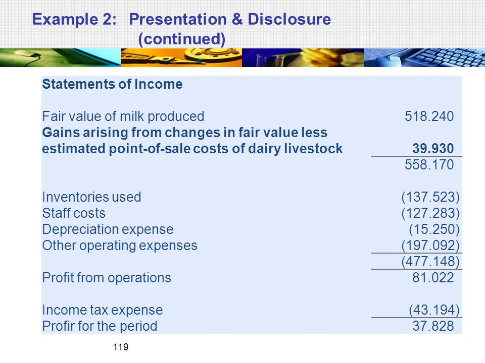 Example 2: Presentation & Disclosure (continued)