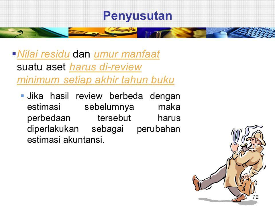 Penyusutan Nilai residu dan umur manfaat suatu aset harus di-review minimum setiap akhir tahun buku.