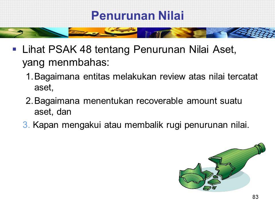 Penurunan Nilai Lihat PSAK 48 tentang Penurunan Nilai Aset, yang menmbahas: 1. Bagaimana entitas melakukan review atas nilai tercatat aset,