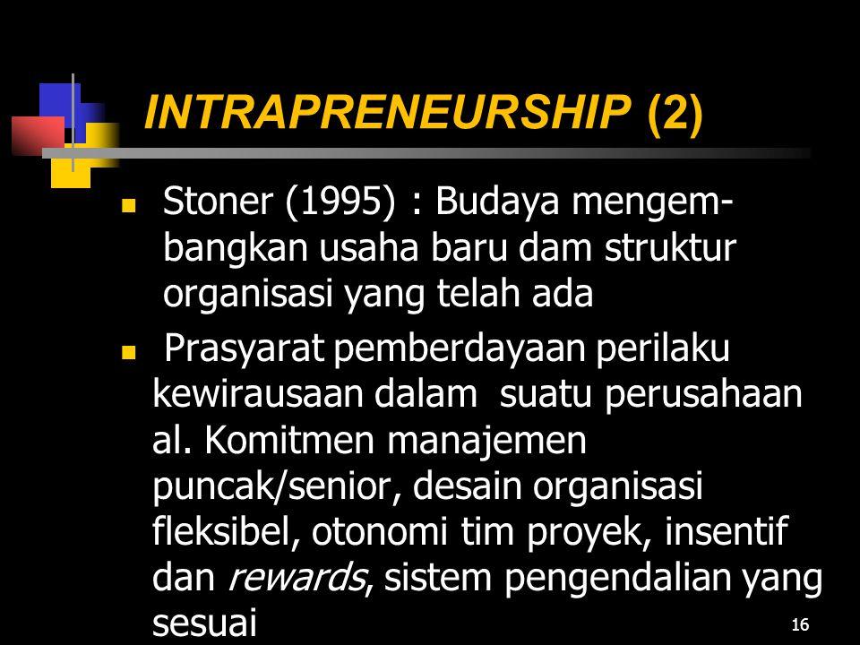 INTRAPRENEURSHIP (2) Stoner (1995) : Budaya mengem-bangkan usaha baru dam struktur organisasi yang telah ada.
