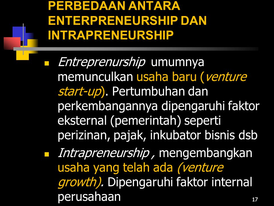 PERBEDAAN ANTARA ENTERPRENEURSHIP DAN INTRAPRENEURSHIP
